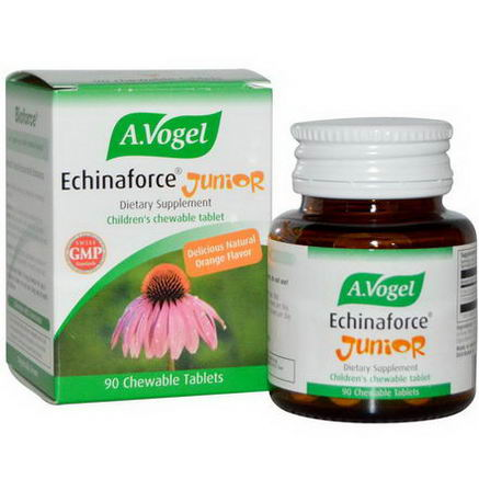 A Vogel, Echinaforce Junior, Orange Flavor, 90 Chewable Tablets