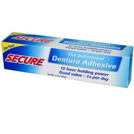 A Vogel, Secure, Denture Adhesive, Waterproof, 1.4oz (40g)