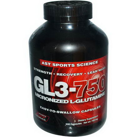 AST Sports Science, GL3-750, Micronized L-Glutamine, 750mg, 500 Capsules