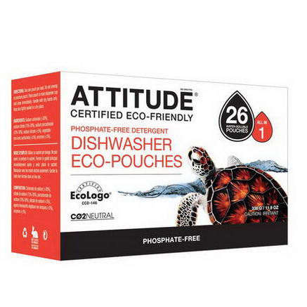 ATTITUDE, Automatic Dishwasher Detergent, 26 Pouches, 18.3oz