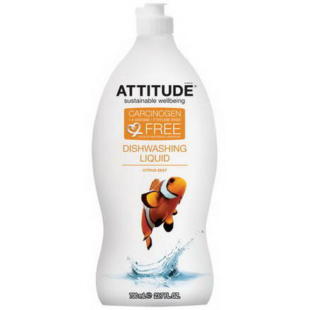 ATTITUDE, Dishwashing Liquid, Citrus Zest, 23.7 fl oz (700 ml)