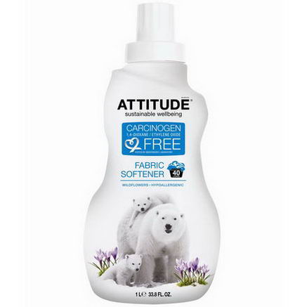ATTITUDE, Fabric Softener, Wildflowers, 40 Loads, 33.8 fl oz (1 L)