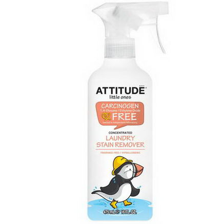 ATTITUDE, Little Ones, Laundry Stain Remover Spray, Concentrated, Fragrance-Free, 16 fl oz (475 ml)