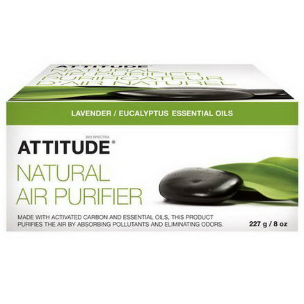 ATTITUDE, Natural Air Purifier, Lavender / Eucalyptus Essential Oils, 8oz (227g)