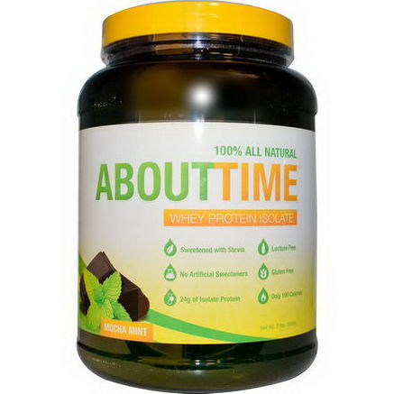 About Time, Whey Protein Isolate, Mocha Mint, 2 lbs (908g)