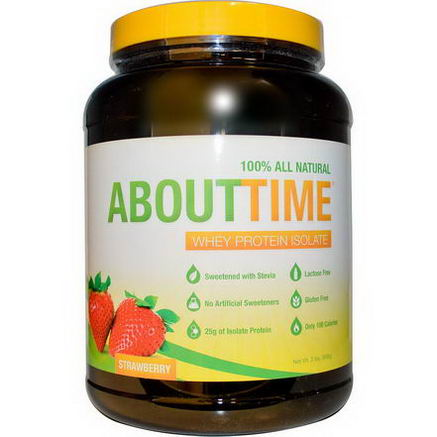 About Time, Whey Protein Isolate, Strawberry, 2 lbs (908g)
