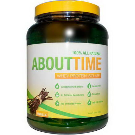 About Time, Whey Protein Isolate, Vanilla, 2 lbs (908g)