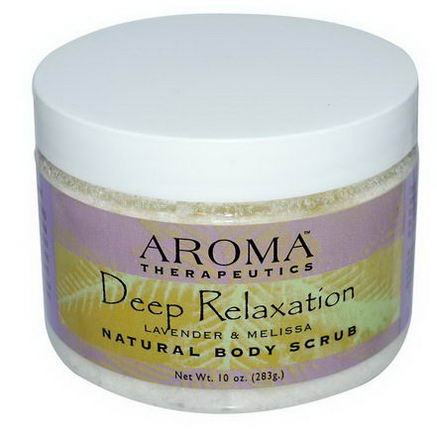Abra Therapeutics, Natural Body Scrub, Deep Relaxation, Lavender and Melissa, 10oz (283g)