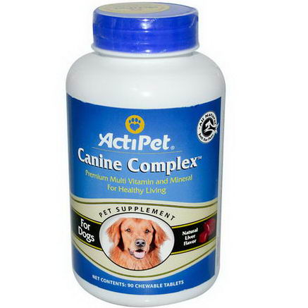 Actipet, Canine Complex, Multi Vitamin and Mineral for Dogs, Natural Liver Flavor, 90 Chewable Tablets