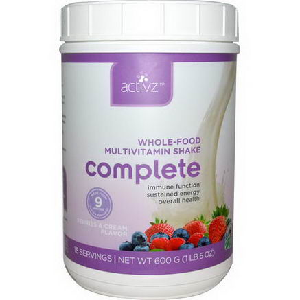 Activz, Whole-Food Multivitamin Shake Complete, Berries & Cream Flavor, 1 lb5oz (600g)