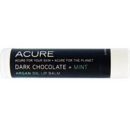 Acure Organics, Argan Oil Lip Balm, Dark Chocolate + Mint, 0.15oz (4.25g)