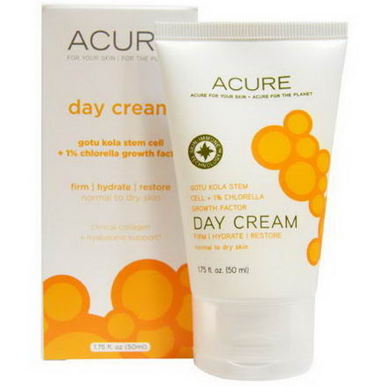 Acure Organics, Day Cream, Gotu Kola Stem Cell + 1% Chlorella Growth Factor, 1.75 fl oz (50 ml)