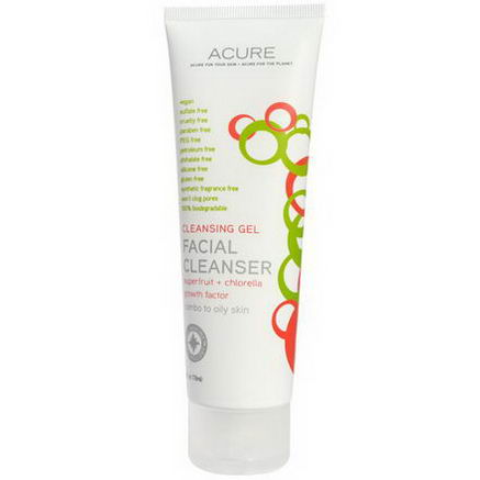 Acure Organics, Facial Cleanser, SuperFruit + Chlorella Growth Factor, 4 fl oz (118 ml)