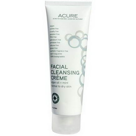 Acure Organics, Facial Cleansing Creme, Argan Oil + Mint, 4 fl oz (118 ml)