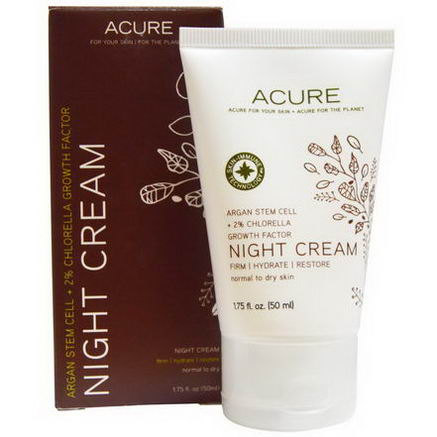Acure Organics, Night Cream, Argan Stem Cell + 2% Chlorella Growth Factor, 1.75 fl oz (50 ml)
