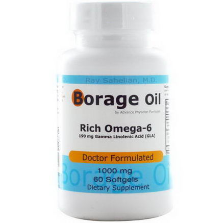 Advance Physician Formulas, Inc. Borage Oil, 1000mg, 60 Softgels