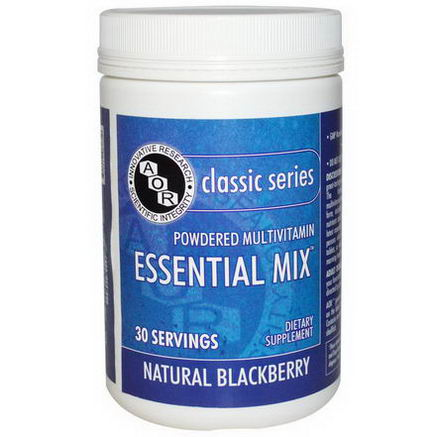 Advanced Orthomolecular Research AOR, Classic Series, Essential Mix, Powered Multivitamin, Natural Blackberry, 30 Servings