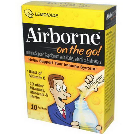 AirBorne, On-the-Go, Effervescent Health Formula, Lemonade, 10 Packets, 3.61g Each
