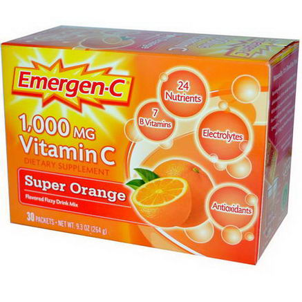 Alacer, Emergen-C, 1, 000mg Vitamin C, Super Orange, 30 Packets, 8.8g Each
