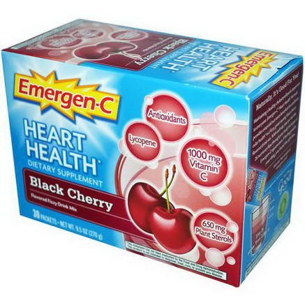 Alacer, Emergen-C, Heart Health, Black Cherry, Flavored Fizzy Drink Mix, 30 Packets, 0.3oz (9.0g) Per Packet