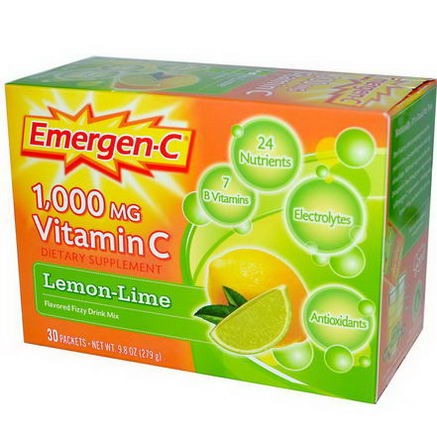 Alacer, Emergen-C, Vitamin C, Flavored Fizzy Drink Mix, Lemon-Lime, 1000mg, 30 Packets, 9.3g Each