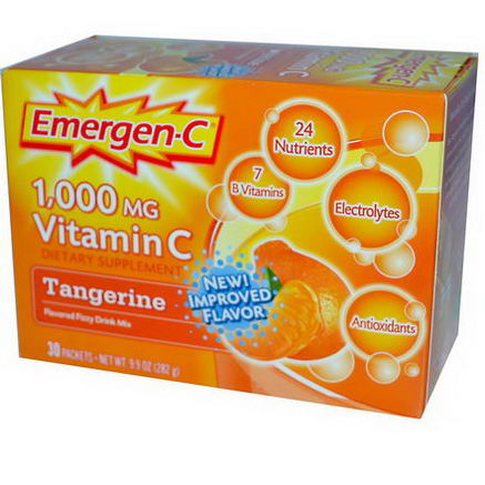 Alacer, Emergen-C, Vitamin C, Flavored Fizzy Drink Mix, Tangerine, 1000mg, 30 Packets, 9.4g Each