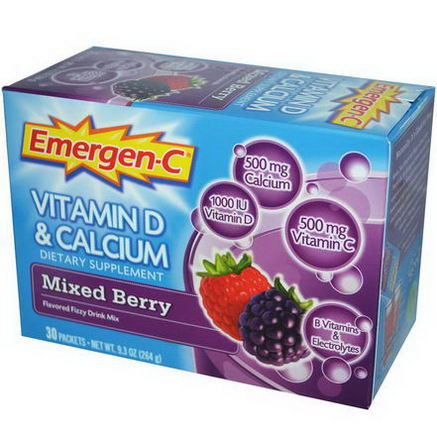 Alacer, Emergen-C, Vitamin D & Calcium, Mixed Berry, Flavored Fizzy Drink Mix, 30 Packets, 8.8g Each