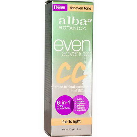 Alba Botanica, Even Advanced CC Cream, SPF 15, Fair to Light, 1.7oz (50g)