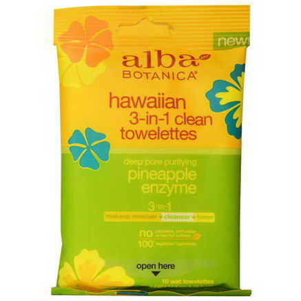 Alba Botanica, Hawaiian 3-in-1 Clean Towelettes, Pineapple Enzyme, 10 Wet Towelettes