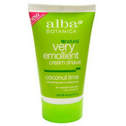 Alba Botanica, Natural Very Emollient Cream Shave, Coconut Lime, 1.5oz (43g)