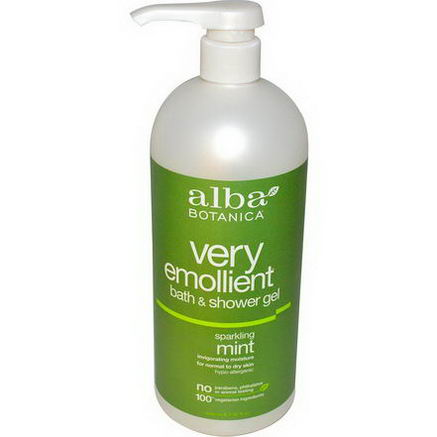 Alba Botanica, Very Emollient, Bath & Shower Gel, Sparkling Mint, 32 fl oz (946 ml)