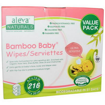 Aleva Naturals, Bamboo Baby Wipes, Ultra Sensitive, Value Pack, 216 Wipes