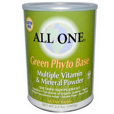 All One, Nutritech, Green Phyto Base, Multiple Vitamin & Mineral Powder, 2.2 lbs. (1000g)