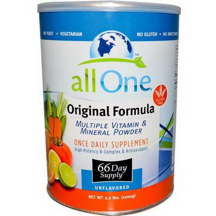 All One, Nutritech, Multiple Vitamin & Mineral Powder, Original Formula, Unflavored, 2.2 lbs (1000g)