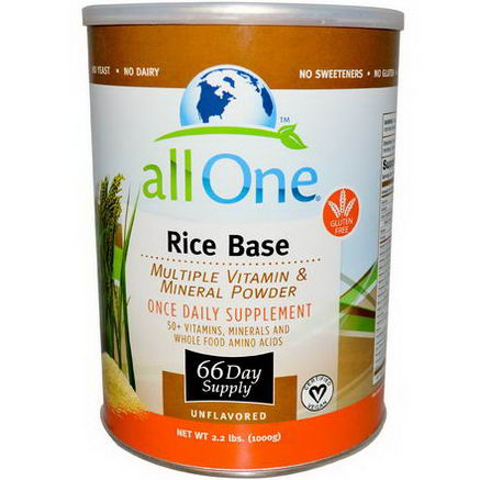 All One, Nutritech, Rice Base, Multiple Vitamin & Mineral Powder, Unflavored, 2.2 lbs (1000g)