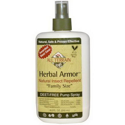 All Terrain, Herbal Armor, Natural Insect Repellent, Deet-Free Pump Spray, 8.0 fl oz (240 ml)
