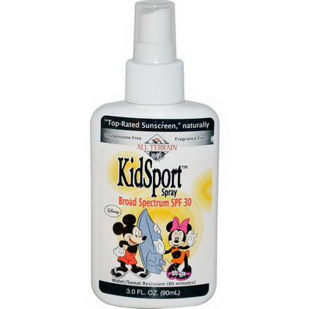 All Terrain, Mickey and Minnie Mouse, KidSport Spray, SPF 30, Fragrance Free, 3.0 fl oz (90 ml)