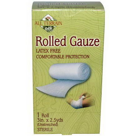 All Terrain, Rolled Gauze, 1 Roll, 3 in X 2.5 yds (Unstreched)