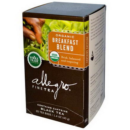 Allegro Fine Tea, Organic, Black Tea, Breakfast Blend, 20 Tea Bags, 1.4oz (40g)
