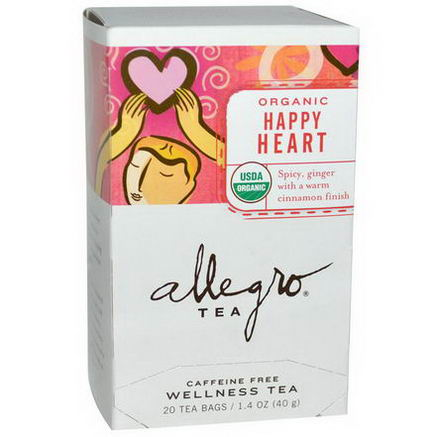 Allegro Fine Tea, Organic Happy Heart Tea, Caffeine Free, 20 Tea Bags, 1.4oz (40g)