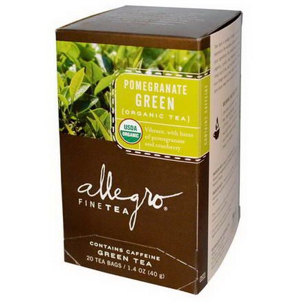 Allegro Fine Tea, Organic, Pomegranate Green Tea, 20 Tea Bags, 1.4oz (40g)