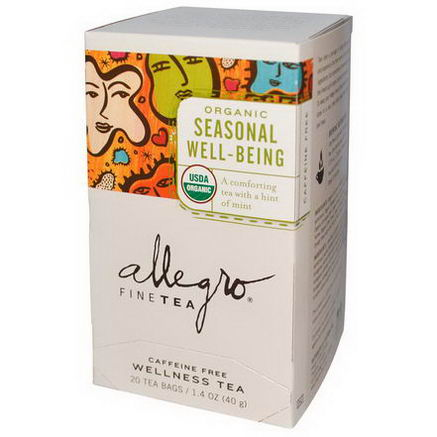 Allegro Fine Tea, Organic Seasonal Well-Being Tea, Caffeine Free, 20 Tea Bags, 1.4oz (40g)