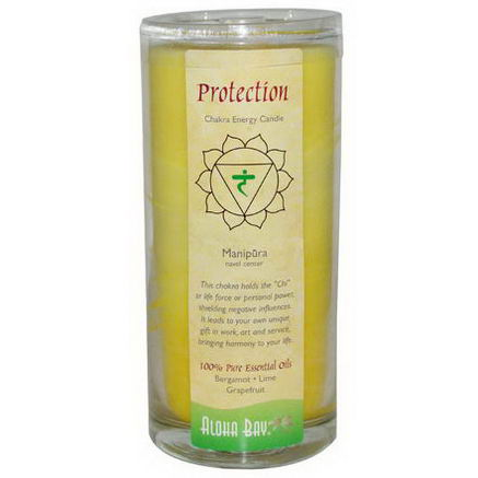 Aloha Bay, Chakra Energy Candle, Protection, Yellow, 11oz, 1 Candle