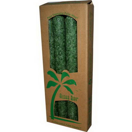 Aloha Bay, Palm Wax Taper Candles, Unscented, Green, 4 Pack, 9 in (23 cm) Each