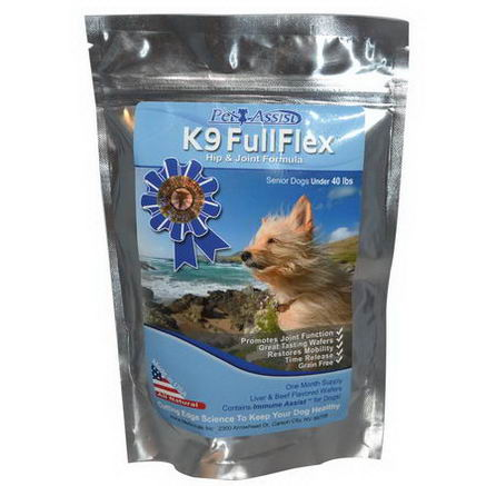 Aloha Medicinals Inc. K9 Full Flex, Hip & Joint Formula for Senior Dogs Under 40 lbs. Liver & Beef Flavored, 3565mg, 30 Wafers
