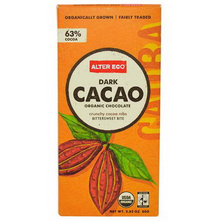 Alter Eco, Organic Chocolate, Dark Cacao, 2.82oz (80g)
