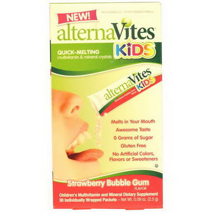 AlternaVites, Kids, Quick-Melting Multivitamin & Mineral Crystals, Strawberry Bubble Gum Flavor, 30 Packets, 0.09oz (2.5g) Each
