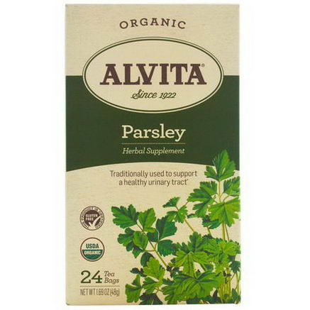 Alvita Teas, Organic, Parsley Tea, Caffeine Free, 24 Tea Bags, 1.69oz (48g)