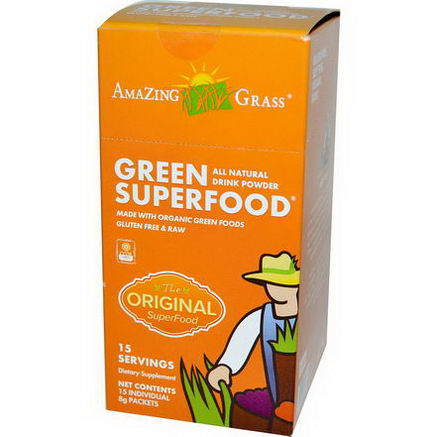 Amazing Grass, Green SuperFood, All Natural Drink Powder, 15 Individual Packets, 8g Each