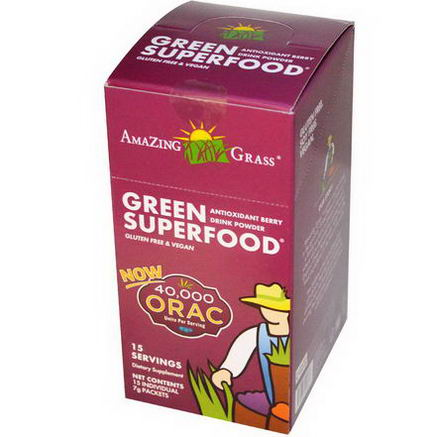 Amazing Grass, Green SuperFood, Antioxidant Berry Drink Powder, 15 Individual Packets, 7g Each